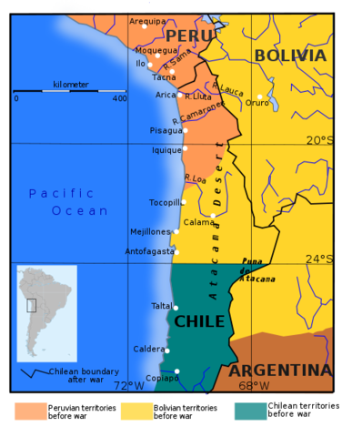 Chile fights a border war against Peru and Bolivia