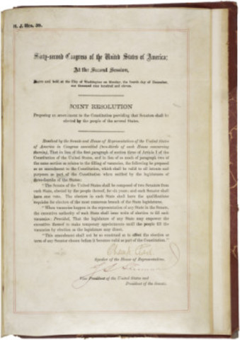 The 17th Amendment was ratified