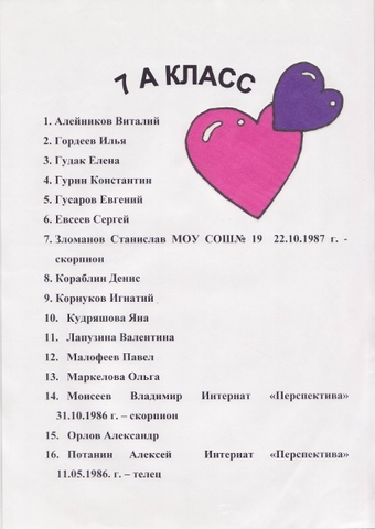 Летопись - 7А класс