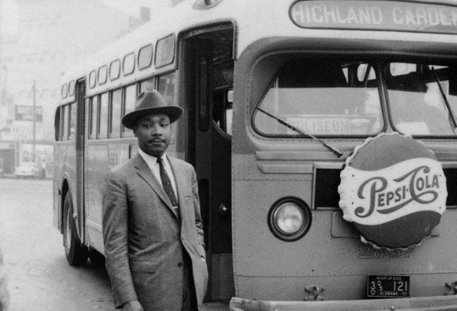 Martin Luther King Jr. leads the Montgomery bus boycott