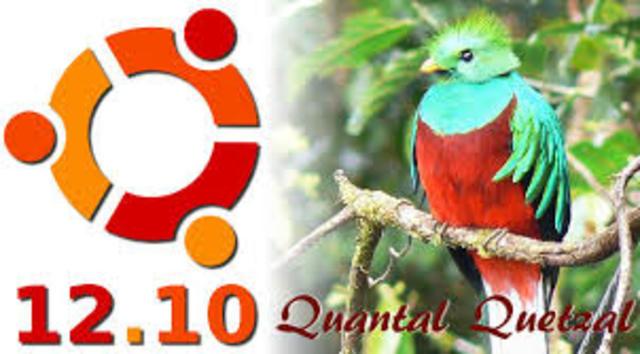 Ubuntu 12.10 (nombre clave Quantal Quetzal - Quetzal Cuántico),