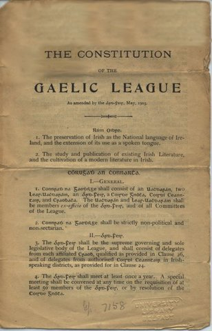 Gaelic League founded; men and women admitted on equal terms.
