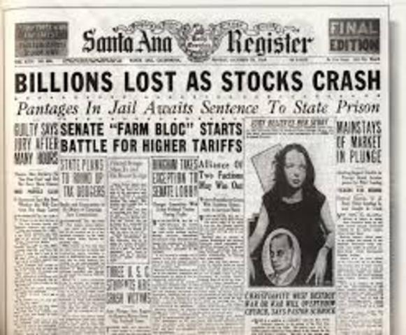 The New York Stock Exchange crashes, one of a series of events leading to the Great Depression in the United States.