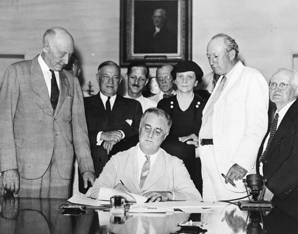 In the Second New Deal, the federal government with strong push by me establishes additional agencies and programs including the WPA, Social Security, and the National Labor Relations Board.