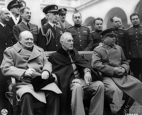 meeting with Winston Churchill and Josef Stalin in Yalta to negotiate the post-war future of Europe.