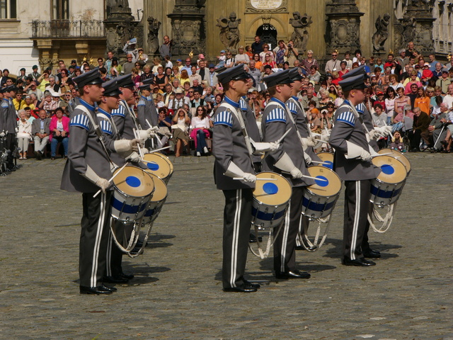 Percussion and brass were added to military bands