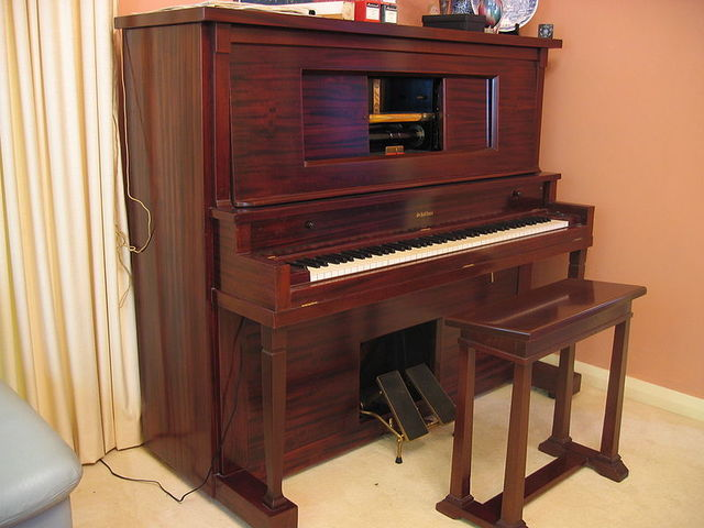 1st player piano was constructed by Edwin S. Voley