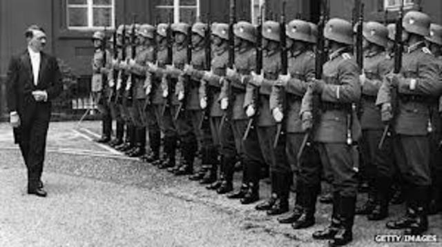 Hitler and his army take over the town of Czechoslovakia