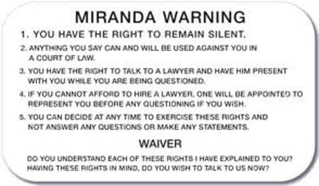 Miranda V. Arizona case