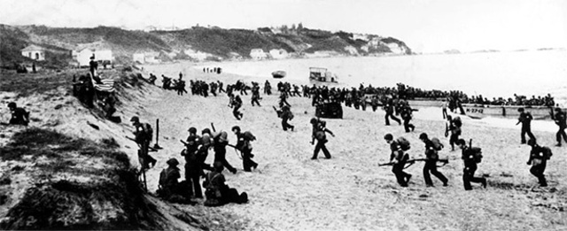 US and British troops land at several points on the beaches in French North Africa.