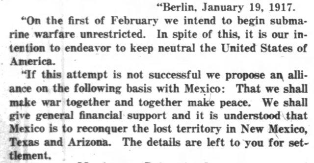 WWI: Zimmerman Telegram