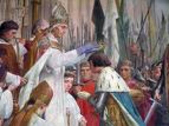 Charles VII is finally crowned at the cathederal in Reims.