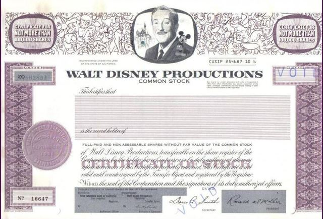 Walt Disney Company issues its first ever stock