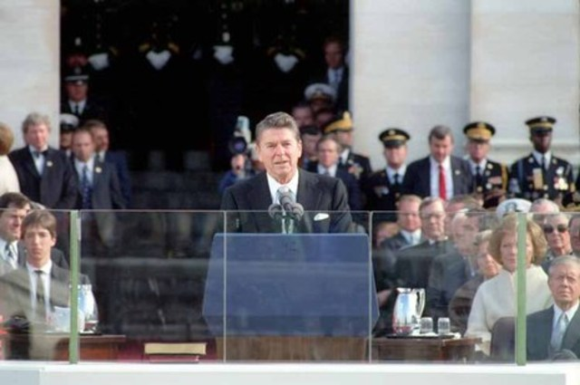 Ronald Reagan is inaugurated as the 40th president of the United States
