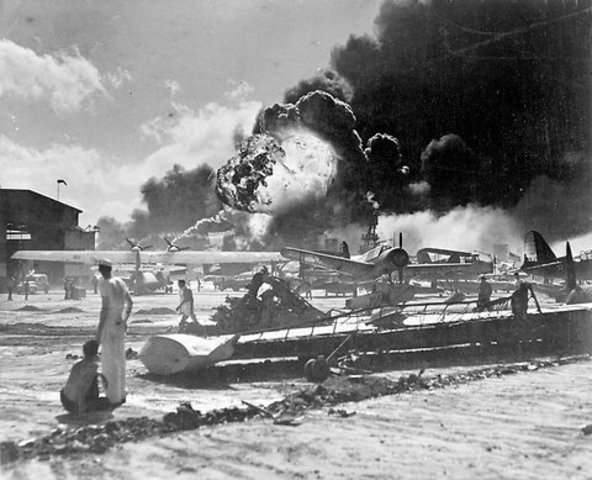 Japan bombs Pearl Harbor, and the U.S. declares war the next day