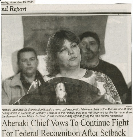 abenaki nation state recognition turned down.