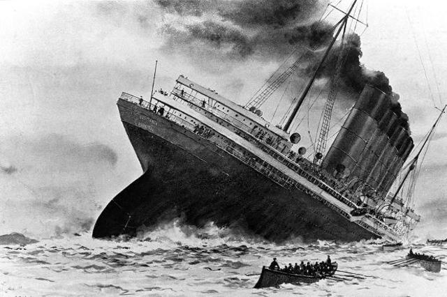 The British ocean liner RMS Lusitania is sunk by German U-boat, U-20