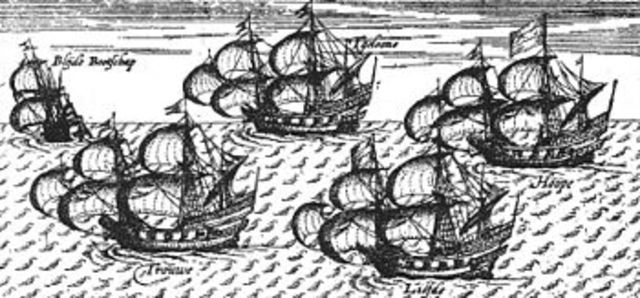 "William Adams' ship ""Liefde"" lands in Japan"