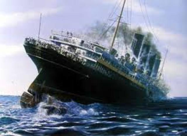 The famous, very large British ship, *Lusitania*, is Sunk