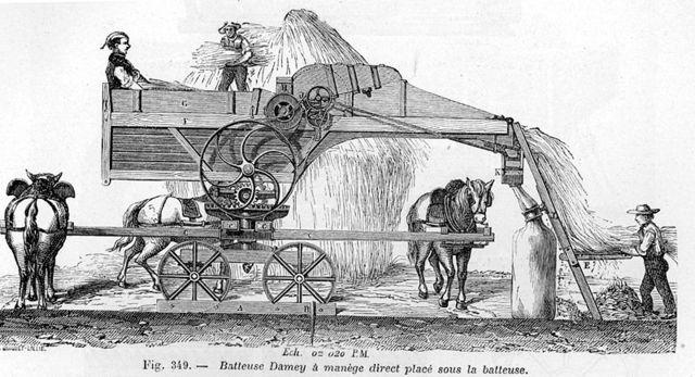 First threshing machine.