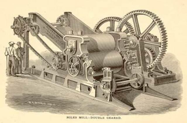 First steam powered mills.