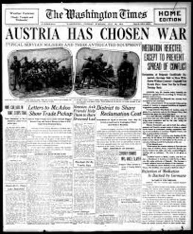 Austria Hungary declares War on Serbia