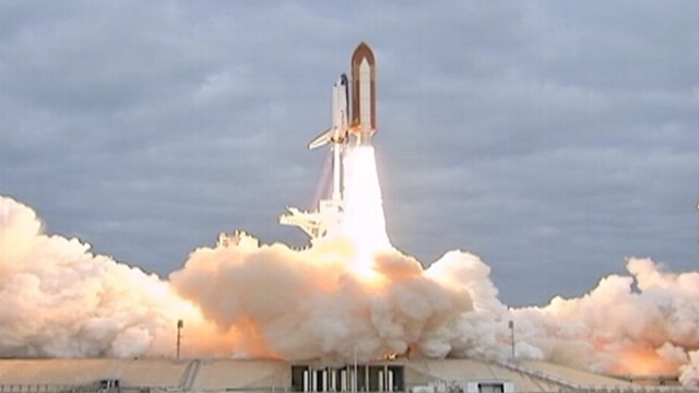 First Space Shuttle Launched