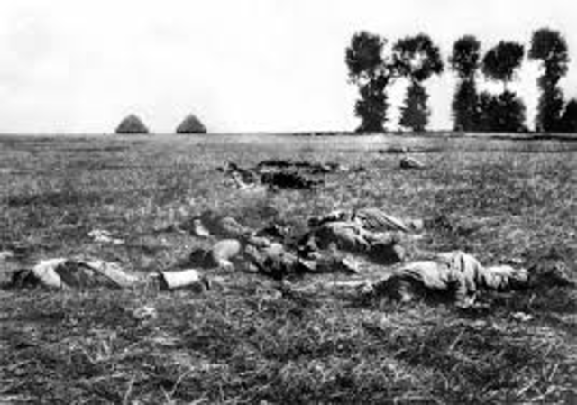 French and British armies halt the Germans in Belgium and France
