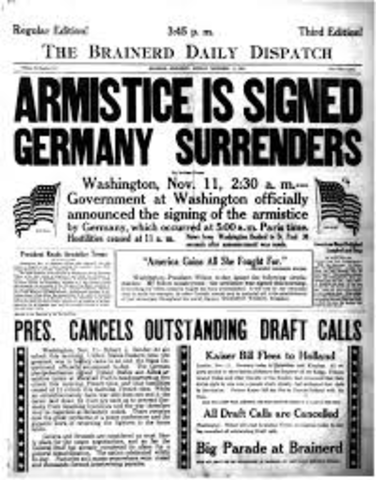 The Armistice (ceasefire) is signed; end of World War I
