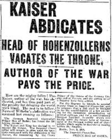 Kaiser Wilhelm II Abdicates