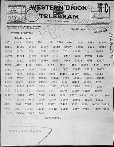 The Germans send the secrete Zimmerman Telegram to Mexico