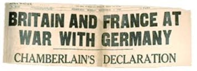 Britain and France declare war on Germany/Austria-Hungary.