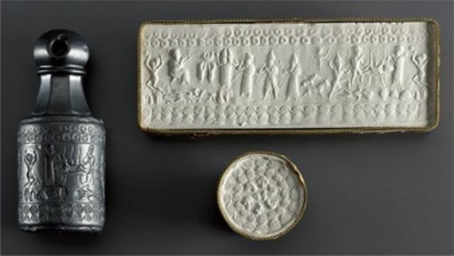 "Stamp-cylinder seal (""the Tyszkiewicz seal""), Hittite, 1650–1200 BCE."