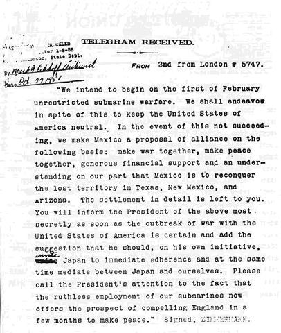 Germany sends the secret Telegram to Mexico