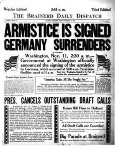 Germany signs the armistice at Compiegne, France.