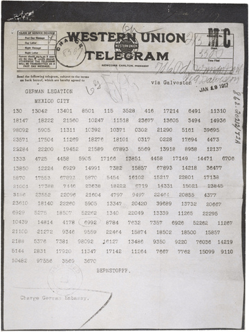 Germans send secret Telegram to Mexico