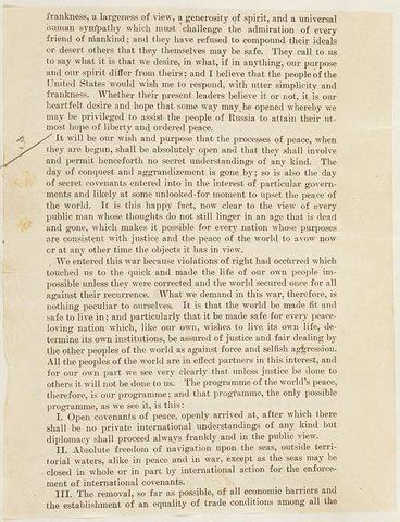 US President Wilson announces 14 Points Peace Program to end the war