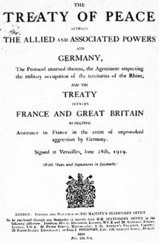 The Treaty of Versailles is signed by Germany