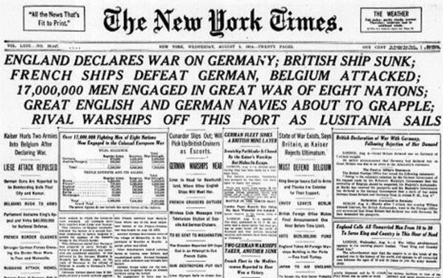 Britian and Germany declare war on each other