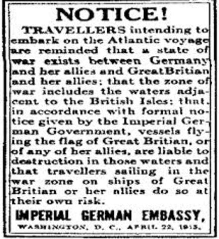 "Germany declares a ""war zone"" around Great Britain"