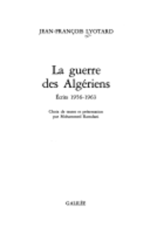 La Guerre des Algériens