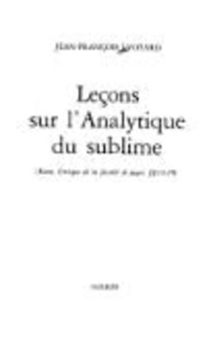 Leçons sur l'analytique du sublime
