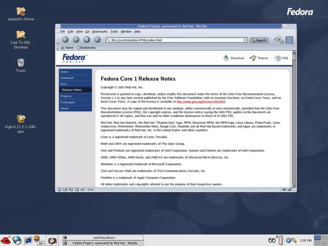 Fedora Core 1