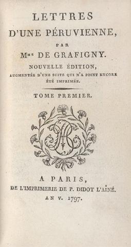 Pierre Didot, title page for Lettres d'une Péruvienne