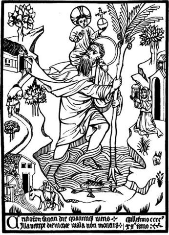 Woodblock Print of Saint Christopher