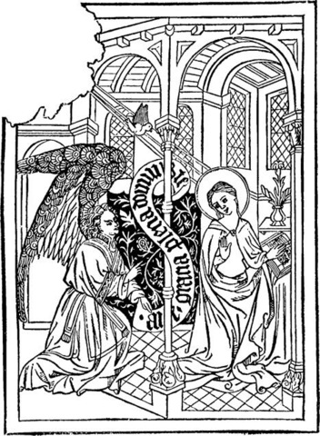 Block print of the Annunciation