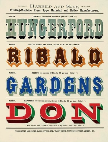 Harrild and Sons, London, wood-type fonts