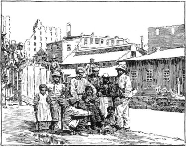 John Macdonald, wood engraving, Freedmen on the Canal Bank at Richmond