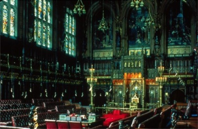 Sir Charles Barry with A. W. N. Pugin, the House of Lords in the British Houses of Parliament, constructed