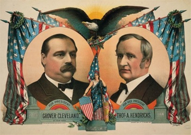 S. S. Frizzall (artist) and J. H. Bufford's Sons (printers), poster for the Cleveland and Hendricks presidential campaign
